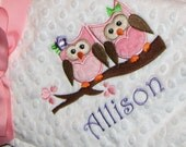 Owl Personalized Minky Baby Blanket with Appliqued Owls