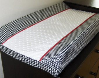 Black and White Houndstooth with red Changing Pad Cover