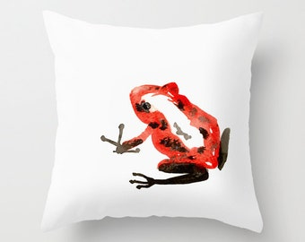 Decorative Pillow Cover - Red Frog Art - Throw Pillow Cushion - Fine Art Home Decor