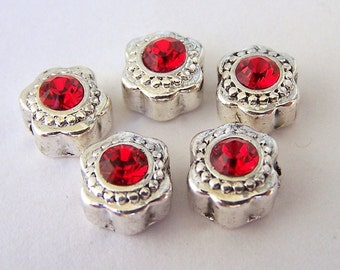 5 tiny red crystal spacer beads, Swarovski red crystal and silver beads