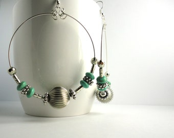 Carmen - Silver and Turquoise Large Hoop Earrings