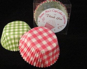 Green and Pink Gingham Plaid Cupcake Liners - Gender Reveal