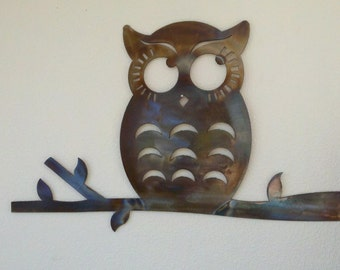 Thoughtful Owl Recycled Metal wall art Colored Patina