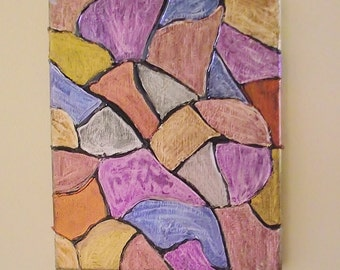 ON SALE 16 x 20 PAINTING Stained Glass Copper Blue Purple Gold Silver Bronze Abstract Art on Canvas Made to Order Mosaic Tile Effect