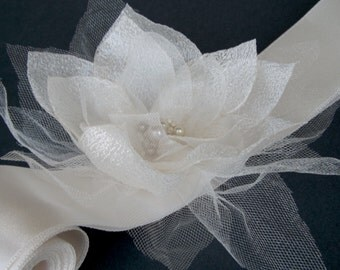 Wedding Sash Belt -Champagne and Ivory Organza Flower on a satin ribbon