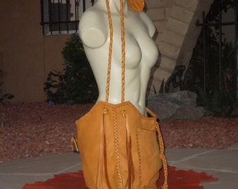 Hand Laced Deerskin SET fully lined in dark brown Leather Big Huge Me Bag and Zadie Coin Purse Set