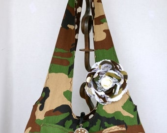Camoflouge Hobo Bag, Diaper Bag, Reversible Extra Large, Camouflage Print,  US Marine, Army Name Tape, Brown Polk a Dot