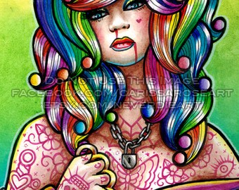 10 PERCENT OFF Limited Edition 6 out of 25 8x10 in Art Print - Hard Candy 4 - Pin Up Girl With Rainbow Hair
