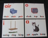 Large School Flash Card Poster - Vowels - Choice of Swing Cat Clock Chair