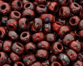 Seed Beads-8/0 Round-4513 Opaque Red Picasso-Miyuki-16 Grams