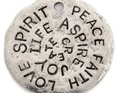 Casting-23mm Pewter-Love Spirit Peace Disc-Antique Silver-Quantity 1