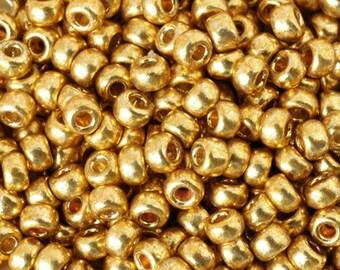 Seed Beads-11/0 Round-4202 Duracoat Galvanized Gold-Miyuki-16 Grams
