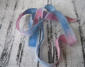 Hand Dyed Painted Habotai - Silk Wrap Bracelet - Light Blue soft pink - Fairy Ribbon, DIY wrap bracelet, Silk Bracelet, Ribbon Wrap, Ribbon