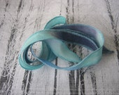Silk Fairy Ribbons - Wrap Bracelet - Hand Painted or Dyed - navy cloud blue - Jewelry Supply - DIY Bracelet - Silk Wrap Bracelet