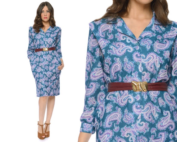 70s Paisley Dress Teal Purple Secretary Shirt Midi Button Up Long Sleeve 1970s Boho / Size M Medium