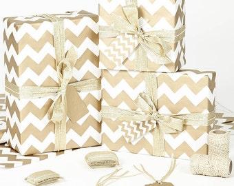 Gold Chevron White Christmas Wrapping Paper