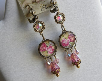 Pink Roses Earrings, Pink Swarovski Earrings, Shabby Chic Chandelier