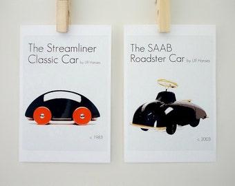 Toys for Boys Prints Set of Two, Cars by Ulf Hanses, Nursery Art, Children Room Decor, Kids Room Decor, Gift for Men, Gift for Boys