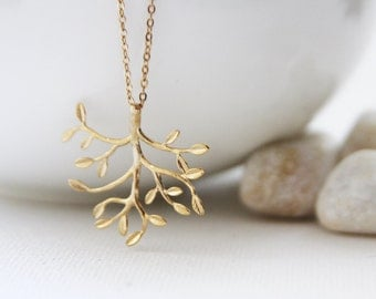 Matt Gold Tree Necklace. Everyday Wear. Gift for Her (SNL-26)