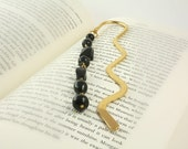 Black Bookmark, Book Marck, Metal Bookmark, Gold Bookmark, Book Accessories, Page Divider, Beaded Bookmark, Ready to Ship