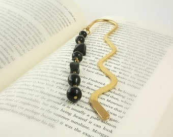 Black Bookmark, Book Marck, Metal Bookmark, Stocking Stuffer, Gold Bookmark, Book Accessories, Page Divider, Beaded Bookmark, Ready to Ship