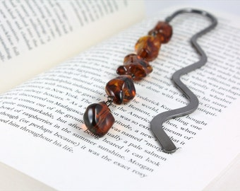 Brown Bookmark, Gold Bookmark, Beaded Bookmark, Book Mark, Metal Bookmark, Shepherds Hook Bookmark, Ready to Ship, Mother's Day