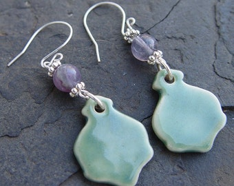 Victorian Splendor - Amethyst, Porcelain and Silver Earrings