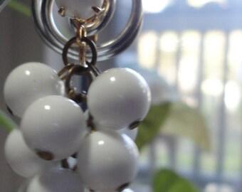 White Beaded Cluster Dangle Vintage Earrings