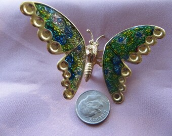 Foiled Glittery Metal Butterfly Brooch with Moveable Wings