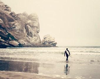 "Surfer Wall Art,  Cream Colored Beach Decor, Surf Decor, California Surfer, Morro Rock, Large Wall Art ""Soul Surfer"""