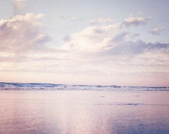 "Pink Purple Wall Art, Seascape Photograph, Dreamy Beach Photography, Whimsical Wall Art, Pastel Wall Decor ""Sunset Wonderland"""