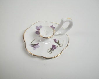 Vintage Hammersley Victorian Violets Miniature Candlestick, English Fine Bone China
