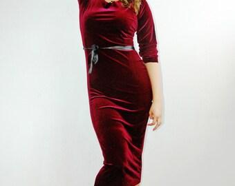 Claret Velvet Dress