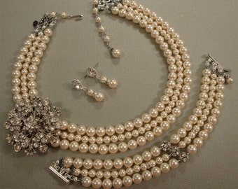 Complete Bridal Pearl Necklace Bracelet Earrings Set with Rhinestone Brooch in 3 strands of Swarovski pearls bridal wedding jewelry sets