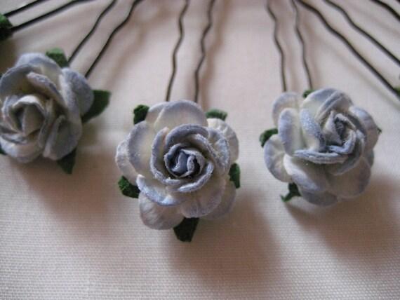 Pale Blue/Ivory Rose Hairpins x 8. HANDMADE.