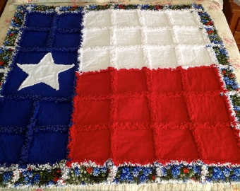Texas Star Rag Quilt with BlueBonnets Red White Blue Quilt Texas State Quilt Lone Star Quilt Lap Quilt