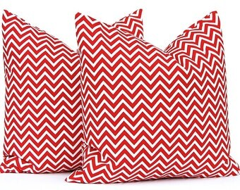Euro Sham Chevron Decorative Throw Pillow Cover 24 x 24 Red on White Pillow Covers Chevron Accent Pillows Holiday Decor Christmas Pillows