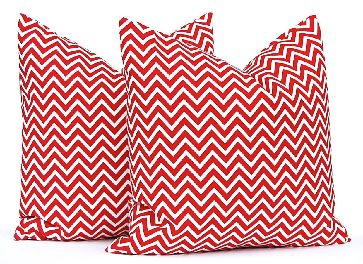 Red Pillow Cover Red Chevron Decorative Throw by CompanyTwentySix