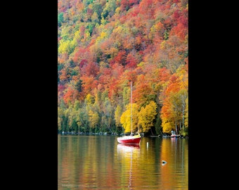Sailboat and Fall Foliage Reflection on Willoughby Print