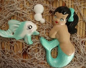 Made to order:Three piece Fun and Flirty Curvy Vintage Reproduction Chalkware Mermaid Plaque Set