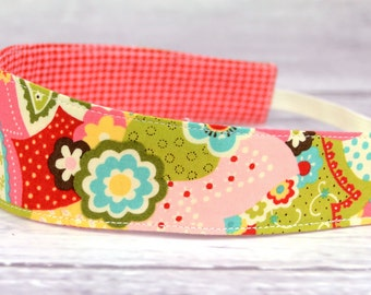 Reversible Fabric Headband- Children Toddler in Sophie by Chez Moi for Moda Overlay Pink Sorbet and Houndstooth