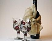 Wine Glasses Hand Painted, Wedding Glasses, Swarovski Crystals Glasses , set of 2