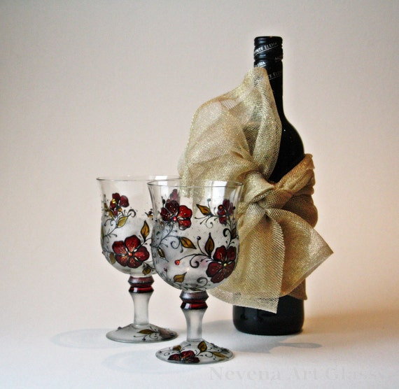 Wine Glasses Hand Painted, Wedding Glasses, Swarovski Crystals Glasses , set of 2