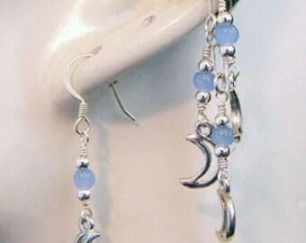 Sterling Silver Pale Moon Single Earcuff and Earring Set