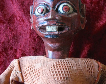"""Asian Puppet Head Turns  Original  21 1/2"""" Wood and Cloth"""