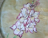 Original Oil Painting Oval Gladiola