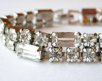 Vintage 50s Weiss Rhinestone Movie Star Glamour Girl Silver Link Bracelet