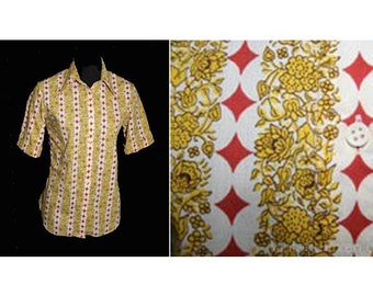 Size 8 Hipster Shirt - 1960s 1970s Yellow & Star Stripe Shirt - Brown Spring Fall Casual Rockabilly Cotton - Lady Marlboro - Bust 36 - 29977