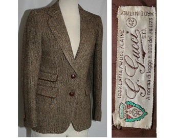 Size 6 Blazer - Vintage Designer Gucci Brown Tweed Jacket with Leather Trim - Small Suit Jacket - Leather & Suede Trim - Bust 33.5 - 30184