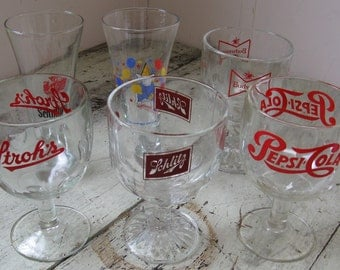 vintage beer glass collection steins goblets budweiser schlitz strohs schmidts bud light pepsi